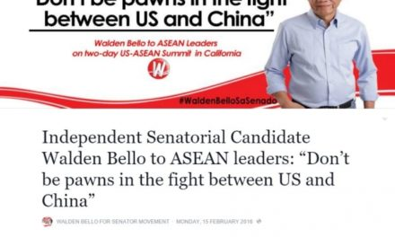 """Independent Senatorial Candidate Walden Bello to ASEAN leaders: """"Don't be pawns in the fight between US and China"""""""