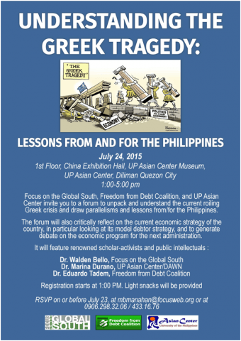 Invitation – The Greek Tragedy: Lessons from/for the Philippines, July 24, Friday 1-5pm @ UP Asian Center