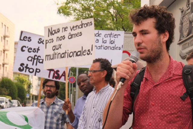Groups picket the Trade in Services Agreement (TISA) in Geneva