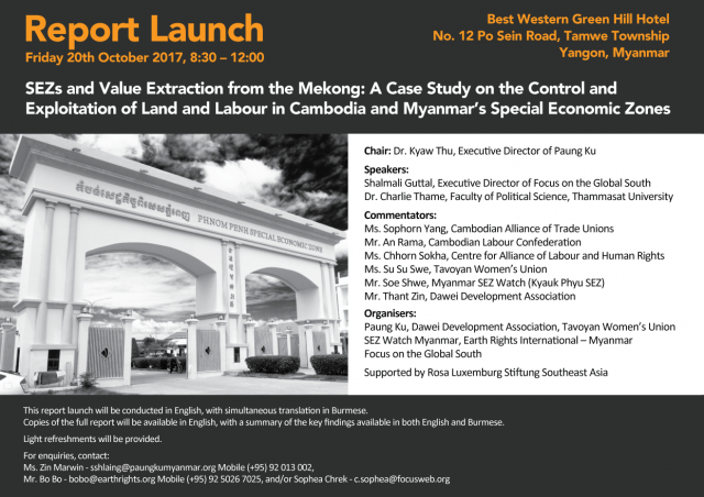 Report Launch- SEZs and Value Extraction from the Mekong: A Case Study on the Control and Exploitation of Land and Labour in Cambodia and Myanmar's Special Economic Zones